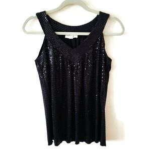 Ally B Sequin Sleeveless Black Top Sz M
